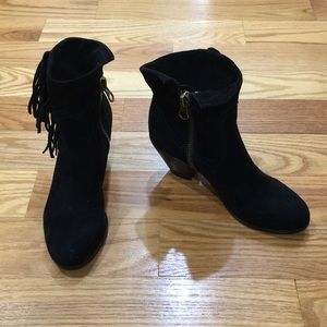 NWT SE Louie Black Leather Suede Fringe Bootie